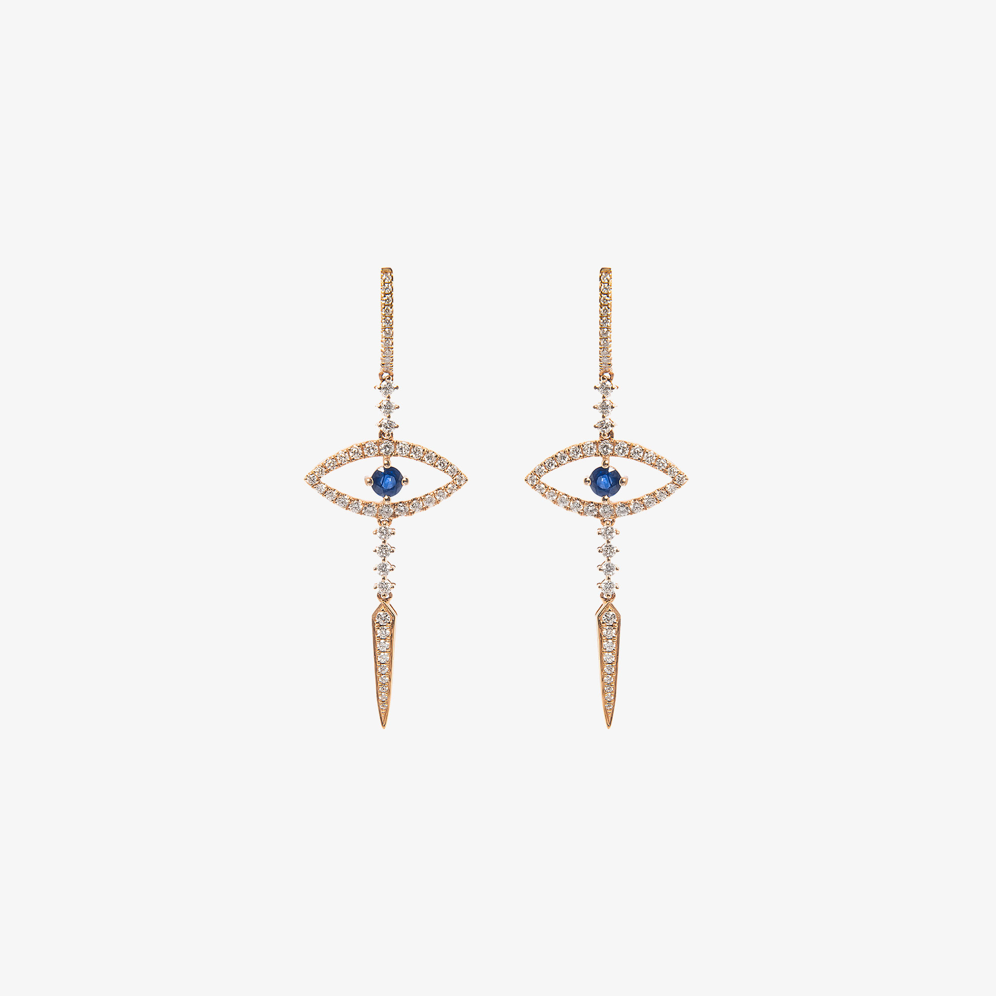 Evil eye earrings with sapphires and diamonds